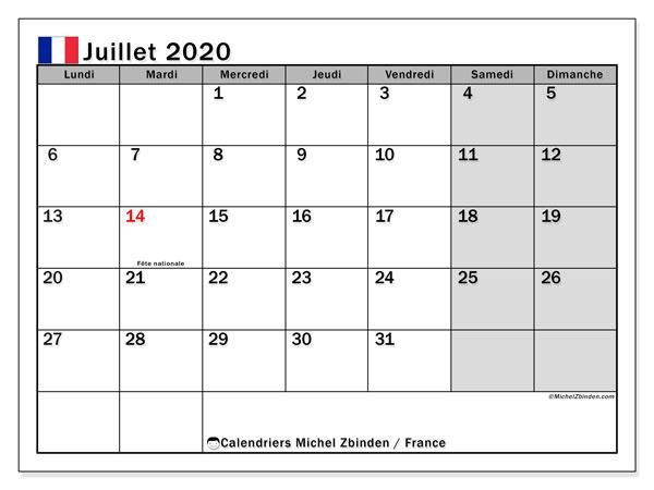 Calendrier juillet 2020, avec les jours fériés de la France. Calendrier mensuel à imprimer gratuit.