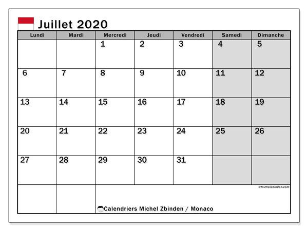 Calendrier juillet 2020, avec les jours fériés de Monaco. Calendrier à imprimer gratuit avec jours fériés.