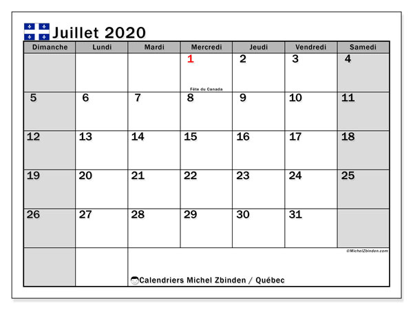Calendrier Juillet2020.Calendrier Juillet 2020 Quebec Canada Michel Zbinden Fr