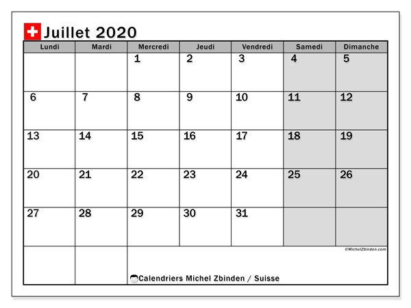 Calendrier Juillet 2020 A Imprimer Gratuit.Calendrier Juillet 2020 Suisse Michel Zbinden Fr