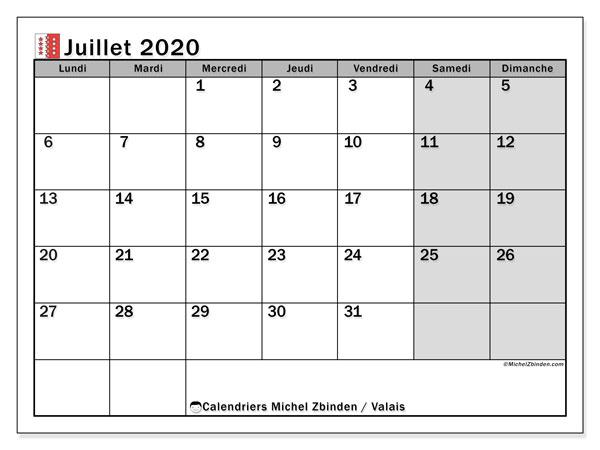 Calendrier juillet 2020, avec les jours fériés du Canton du Valais. Calendrier Fêtes et jours fériés à imprimer gratuit.