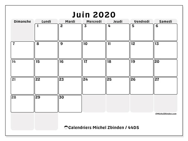 Calendriers juin 2020 (DS).  44DS.