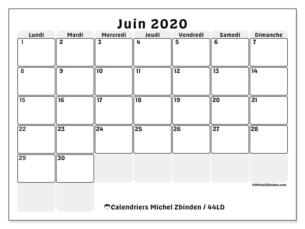 Calendriers juin 2020, 44