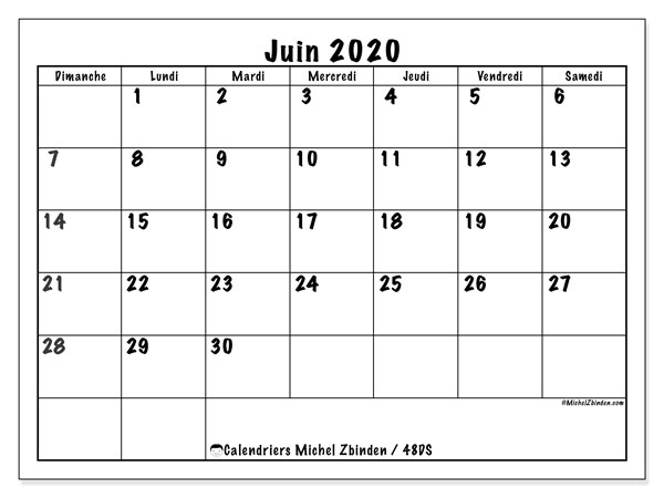 Calendriers juin 2020 (DS).  48DS.