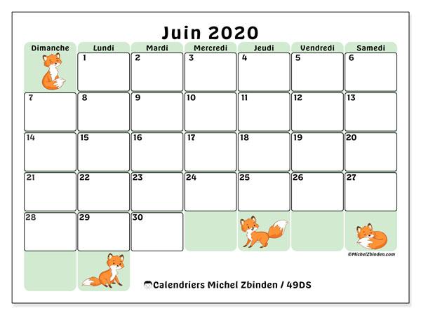 Calendrier juin 2020, 49DS. Calendrier imprimable gratuit.