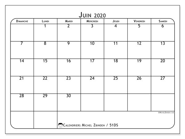 Calendriers juin 2020 (DS).  51DS.