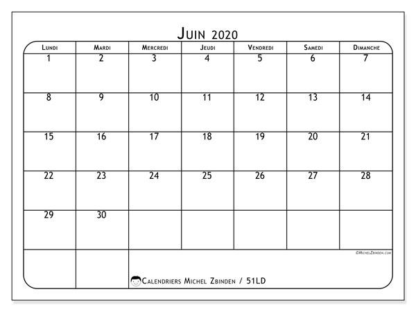 Calendrier juin 2020, 51LD. Planificateur à imprimer gratuit.