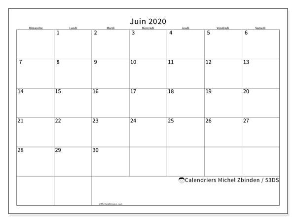 Calendriers juin 2020 (DS).  53DS.