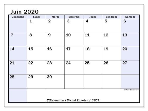Calendrier juin 2020, 57DS. Organisateur à imprimer gratuit.