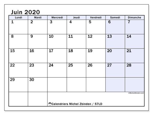 Calendrier juin 2020, 57LD. Calendrier mensuel à imprimer gratuit.