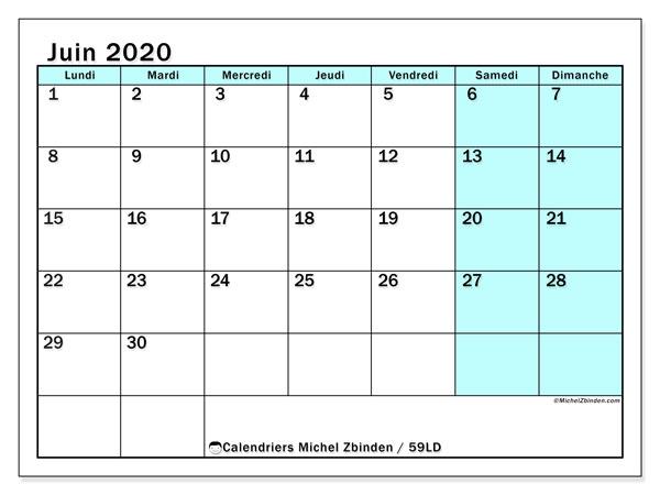 Calendrier juin 2020, 59LD. Calendrier imprimable gratuit.