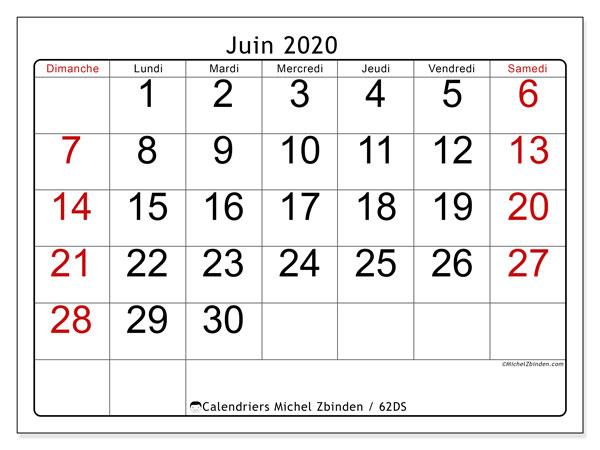 Calendrier juin 2020, 62DS. Planificateur à imprimer gratuit.