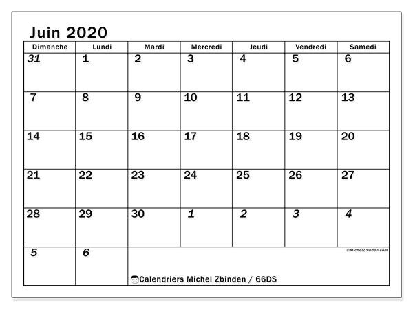 Calendrier juin 2020, 66DS. Planificateur à imprimer gratuit.