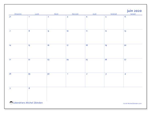 Calendrier juin 2020, 73DS. Calendrier mensuel à imprimer gratuit.