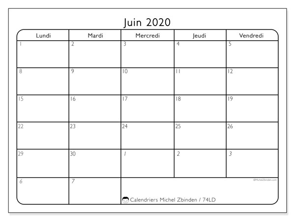 Calendrier juin 2020, 74LD. Organisateur à imprimer gratuit.