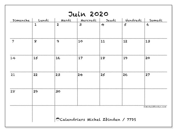 Calendriers juin 2020 (DS).  77DS.