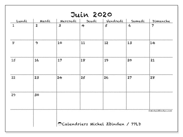 Calendriers juin 2020, 77