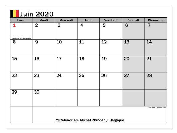 Calendrier juin 2020, avec les jours fériés de la Belgique. Calendrier mensuel à imprimer gratuit.