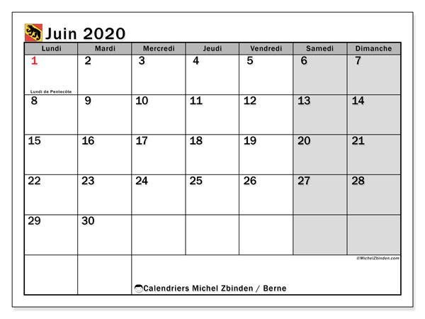Calendrier juin 2020, avec les jours fériés du Canton de Berne. Calendrier Fêtes et jours fériés à imprimer gratuit.