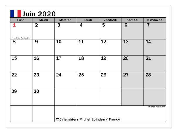 Calendrier juin 2020, avec les jours fériés de la France. Calendrier à imprimer gratuit.