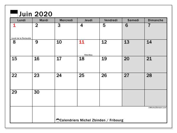 Calendrier juin 2020, avec les jours fériés du Canton de Fribourg. Calendrier à imprimer gratuit avec jours fériés.