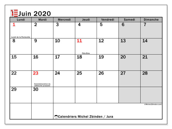 Calendrier juin 2020, avec les jours fériés du Canton du Jura. Calendrier Fêtes et jours fériés à imprimer gratuit.