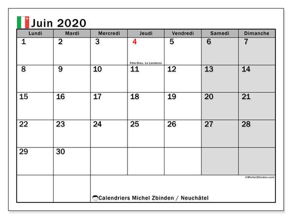 Calendrier juin 2020, avec les jours fériés du Canton de Neuchâtel. Calendrier Fêtes et jours fériés à imprimer gratuit.