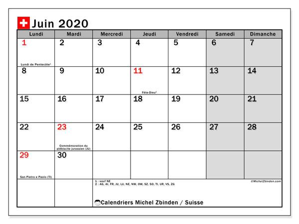 Calendrier juin 2020, avec les jours fériés de la Suisse. Calendrier Fêtes et jours fériés à imprimer gratuit.