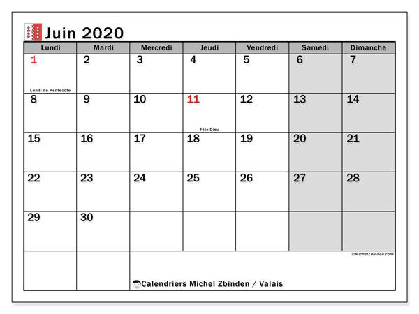 Calendrier juin 2020, avec les jours fériés du Canton du Valais. Calendrier à imprimer gratuit avec jours fériés.