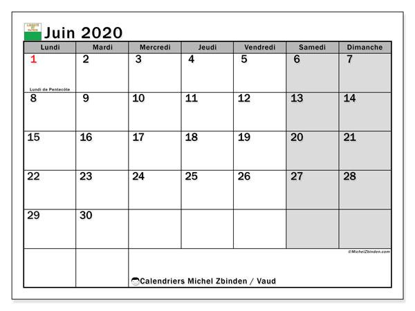 Calendrier juin 2020, avec les jours fériés du Canton de Vaud. Calendrier Fêtes et jours fériés à imprimer gratuit.