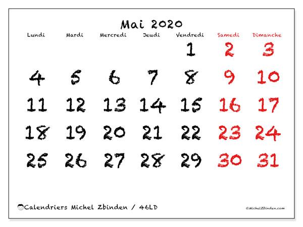 Calendrier mai 2020, 46LD. Calendrier pour le mois à imprimer gratuit.