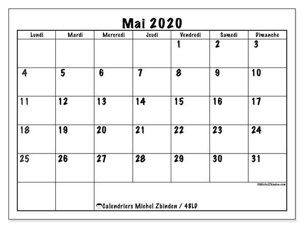 Calendrier Mai 2020 à Imprimer.Calendrier Mai 2020 48ld Michel Zbinden Fr
