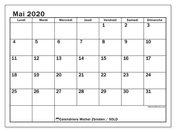 Calendrier mai 2020, 50LD. Organisateur à imprimer gratuit.