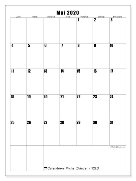 Calendrier mai 2020, 52LD. Calendrier mensuel à imprimer gratuit.