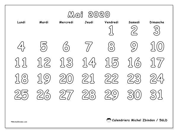 Calendrier mai 2020, 56LD. Calendrier pour le mois à imprimer gratuit.