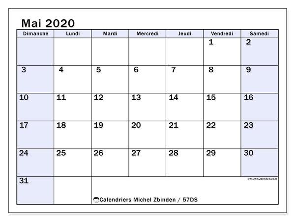 Calendrier mai 2020, 57DS. Calendrier à imprimer gratuit.