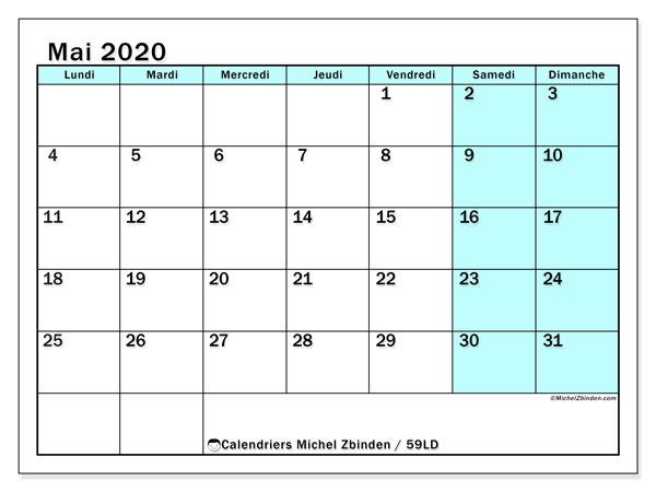 Calendrier mai 2020, 59LD. Calendrier imprimable gratuit.