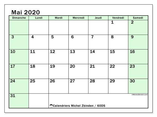 Calendrier mai 2020, 60DS. Calendrier pour le mois à imprimer gratuit.