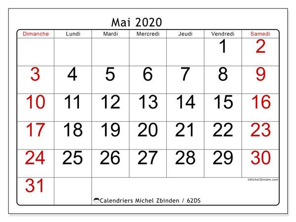 Calendrier mai 2020, 62DS. Planificateur à imprimer gratuit.