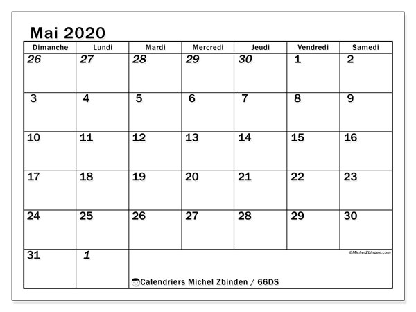Calendrier mai 2020, 66DS. Calendrier gratuit à imprimer.