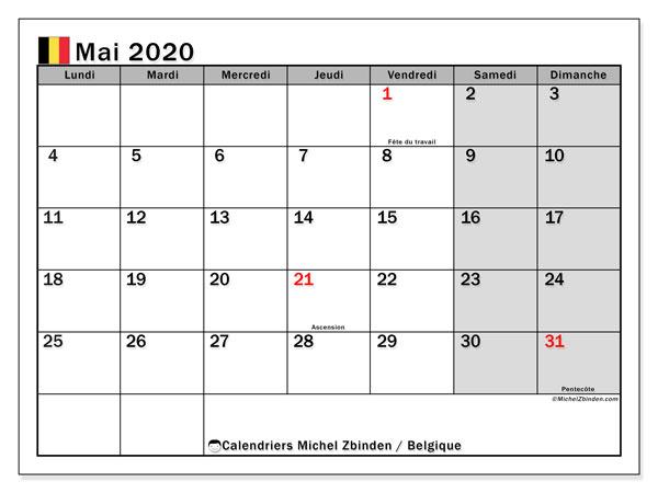 Calendrier mai 2020, avec les jours fériés de la Belgique. Calendrier à imprimer gratuit avec jours fériés.
