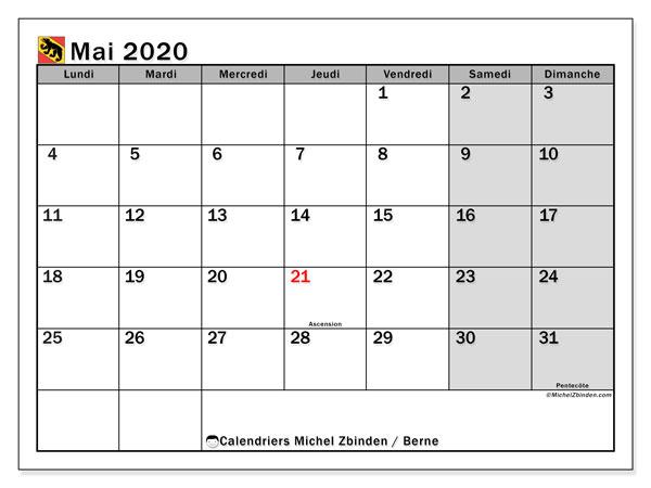 Calendrier Mai 2020 Canton De Berne Michel Zbinden Fr