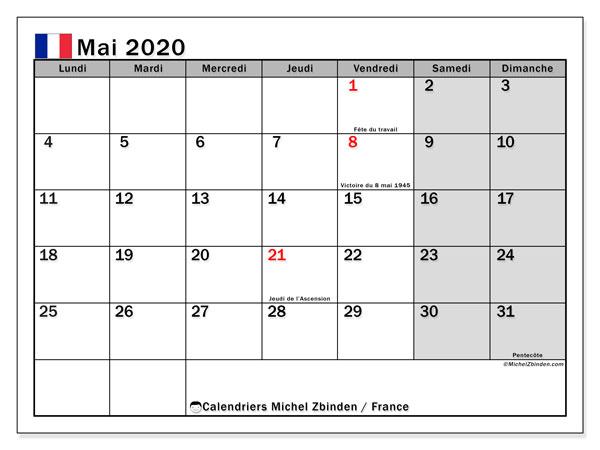 Calendrier mai 2020, avec les jours fériés de la France. Calendrier imprimable gratuit.