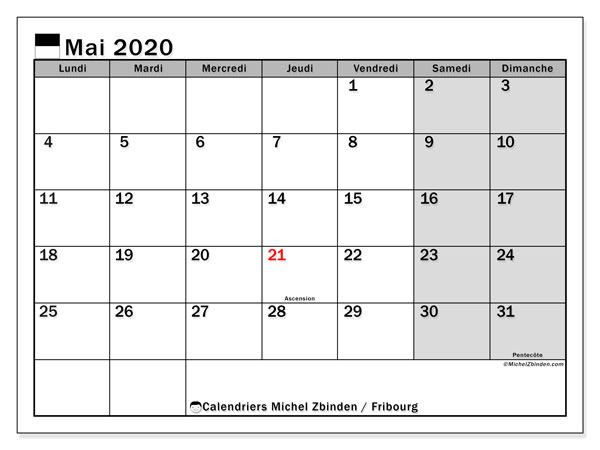 Calendrier mai 2020, avec les jours fériés du Canton de Fribourg. Calendrier Fêtes et jours fériés à imprimer gratuit.