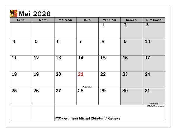 Calendrier mai 2020, avec les jours fériés du Canton de Genève. Calendrier à imprimer gratuit avec jours fériés.