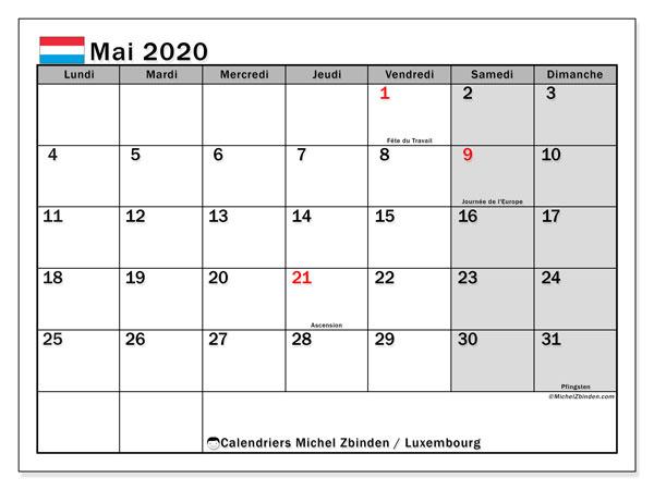 Calendrier mai 2020, avec les jours fériés du Luxembourg. Calendrier Fêtes et jours fériés à imprimer gratuit.