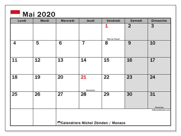 Calendrier mai 2020, avec les jours fériés de Monaco. Calendrier Fêtes et jours fériés à imprimer gratuit.