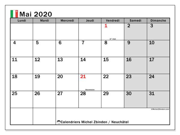 Calendrier mai 2020, avec les jours fériés du Canton de Neuchâtel. Calendrier à imprimer gratuit avec jours fériés.