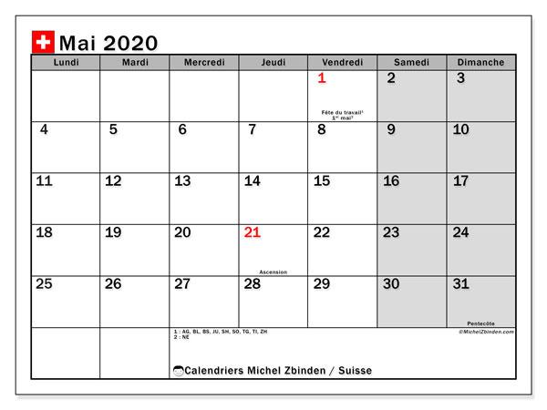 Calendrier mai 2020, avec les jours fériés de la Suisse. Calendrier Fêtes et jours fériés à imprimer gratuit.