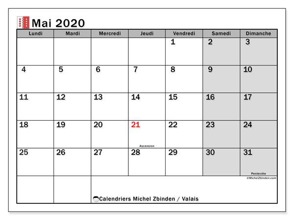 Calendrier mai 2020, avec les jours fériés du Canton du Valais. Calendrier à imprimer gratuit avec jours fériés.